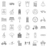 Eco city icons set, outline style Royalty Free Stock Photos
