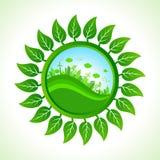 Eco city inside the leaf background Stock Photo