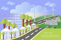 Eco city landscape background, design elements, vector Royalty Free Stock Photo
