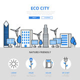 Eco city nature friendly ecology flat line art vector icons Royalty Free Stock Image