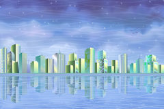 Eco city reflecting in clear water Royalty Free Stock Image