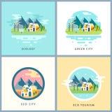 Eco city set. Alternative energy concept Stock Photo