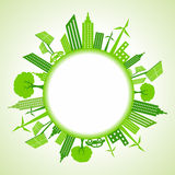 Eco cityscape around circle Stock Image