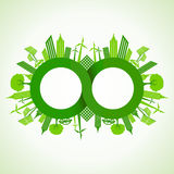 Eco cityscape around infinity symbol Royalty Free Stock Photography