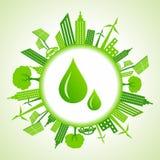 Eco cityscape around water drops Stock Photo