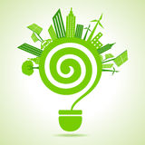 Eco cityscape with bulb Royalty Free Stock Images