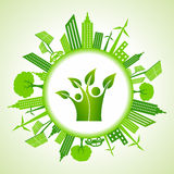 Eco cityscape with green icon Stock Images