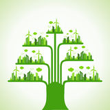 Eco cityscape make a tree Royalty Free Stock Photos