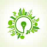 Eco cityscape witheco bulb Royalty Free Stock Photos