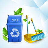 Eco Cleaning Design Concept. Ecology design concept in paper style with cleaning tools and garbage container with recycling symbol realistic vector illustration Stock Illustration