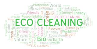 Eco Cleaning word cloud. Wordcloud made with text only stock illustration