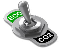 Eco CO2 Switch. A Colourful 3d Rendered Eco Switch Concept Illustration royalty free illustration