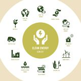 Eco collection with various icons on the theme of ecology and green energy. royalty free illustration