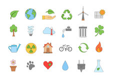Eco colorful icons set. Set of 24 Eco colorful icons Royalty Free Stock Image
