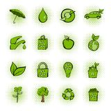 Eco comics green icons set Stock Image