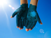 Eco concept. With hands and planet Stock Photo