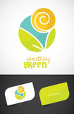 Eco concept. Modern eco-sun and leaves icon and business cards, ESP10 vector Royalty Free Stock Photos