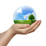 Eco concept. With hands and planet Royalty Free Stock Photography
