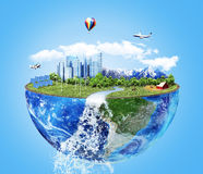 Eco concept. City of future. Solar energy town, wind energy. Save the planet concept. Earth Day Stock Image