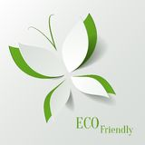 Eco concept - green butterfly cut the paper like l Royalty Free Stock Image