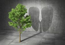 Eco concept. Green tree cast shadow in form of lungs. 3d. Illustration Royalty Free Stock Photos