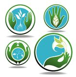 Eco Concept with hands Stock Images