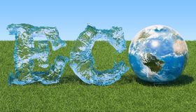 Eco concept. Eco inscription from water with Earth Globe on the Stock Images