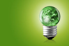 eco concept: light bulbs with green color world, Elements Stock Images