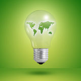 Eco concept: light bulbs with map of world inside royalty free illustration