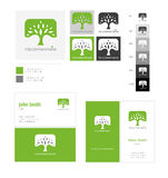 Eco concept logo tree template with color applications for logo and color variations. Royalty Free Stock Photo