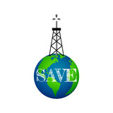 Eco concept, oil derrick on Earth. Save the planet Stock Photography
