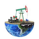 Eco-concept. Oil pump on a cut planet isolated on a white backgr. Ound. The concept of natural resource extraction Stock Photos