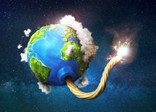 Eco concept. Planet with clouds as bomb. With fired wick on space background. 3d illustration Royalty Free Stock Photos