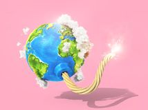 Eco concept. Planet with clouds as bomb with fired wick on a pastel background. 3d illustration Royalty Free Stock Photography