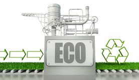 Eco concept with recycle symbol and arrow Royalty Free Stock Photos