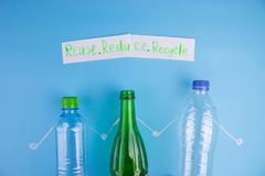Eco concept with recycling symbol on table background stock photo