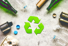 Eco concept with recycling symbol on table background top view Stock Photo