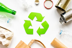 Eco concept with recycling symbol on table background top view Royalty Free Stock Photos