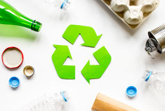 Eco concept with recycling symbol on table background top view Royalty Free Stock Photography