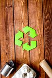 Eco concept with recycling symbol on table background top view m stock photography