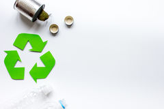 Eco concept with recycling symbol on table background top view mock up Stock Images