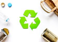 Eco concept with recycling symbol on table background top view mock up Stock Photos