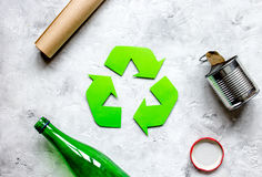 Eco concept with recycling symbol on table background top view mockup Royalty Free Stock Photography