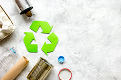 Eco concept with recycling symbol on table background top view mockup Stock Photography