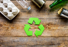 Eco concept with recycling symbol on table background top view mockup Stock Photos