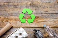 Eco concept with recycling symbol on table background top view mockup Stock Photo