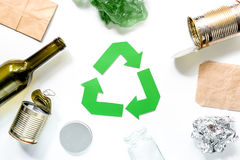 Eco concept with recycling symbol on white background top view Royalty Free Stock Image