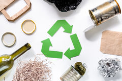 Eco concept with recycling symbol on white background top view Stock Photos