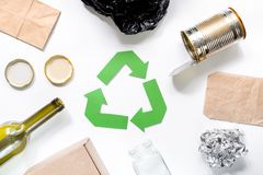 Eco concept with recycling symbol on white background top view Stock Image