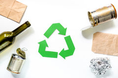 Eco concept with recycling symbol on white background top view Royalty Free Stock Photos